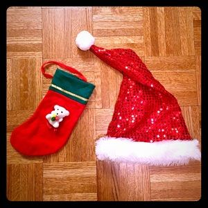 🎃 Sparkly Santa Hat and Mini Christmas Stocking